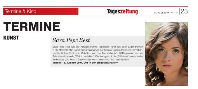 Ankündigung Tageszeitung